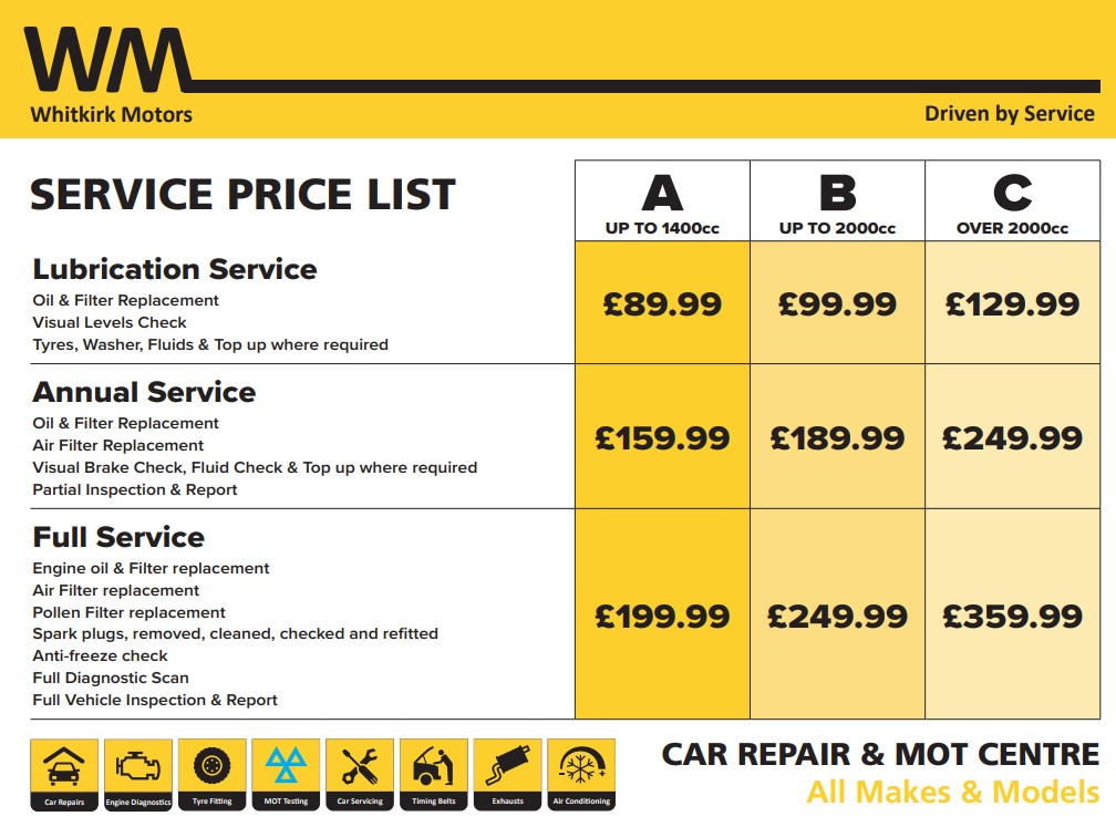 Whitkirk Motors service price list
